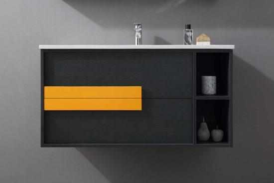 ארון אמבטיה שחור דגם אורליקון בחזית