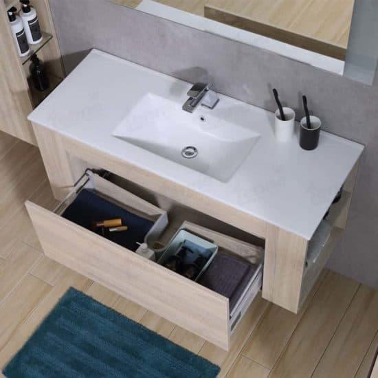 ארון אמבטיה עץ אלון דגם אורי