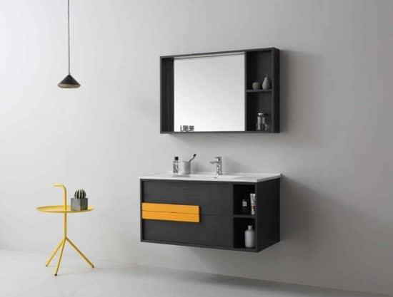 ארון אמבטיה שחור דגם אורליקון