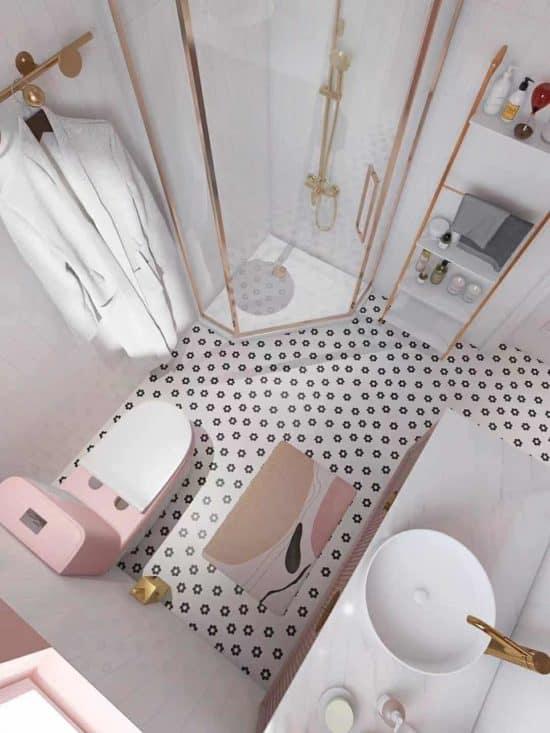 ארון אמבטיה ורוד דגם אנה מלמעלה