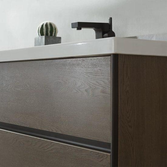 ארון אמבטיה מודרני דגם יפתח תמונת קירוב טקסטורת עץ
