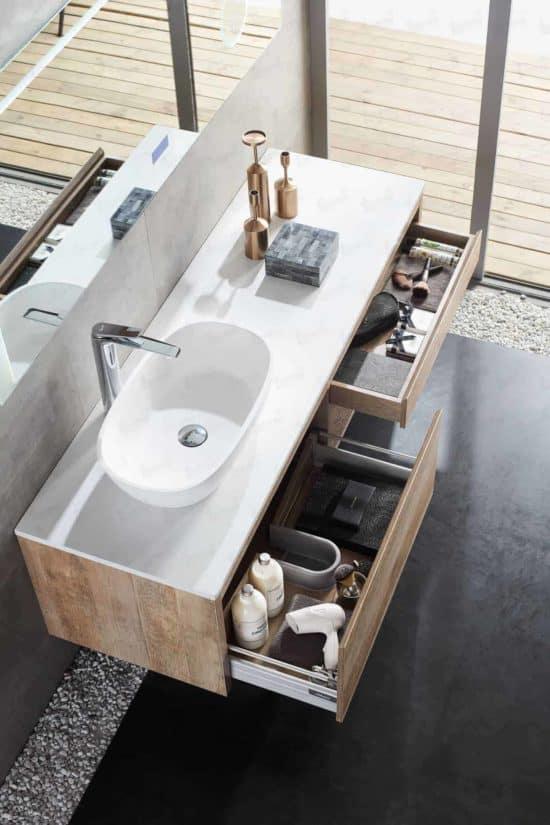 ארון אמבטיה עץ דגם מור כיור מונח