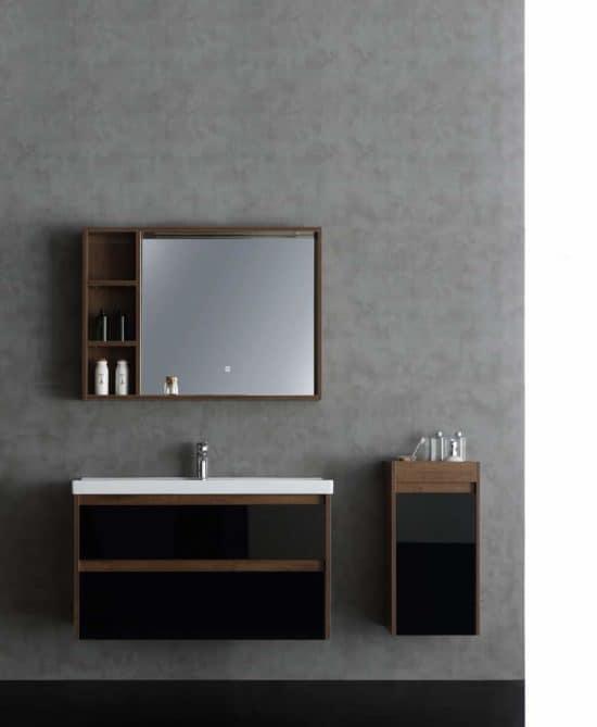 ארון אמבטיה דגם ענת עץ ושילוב מגירות זכוכית שחורה
