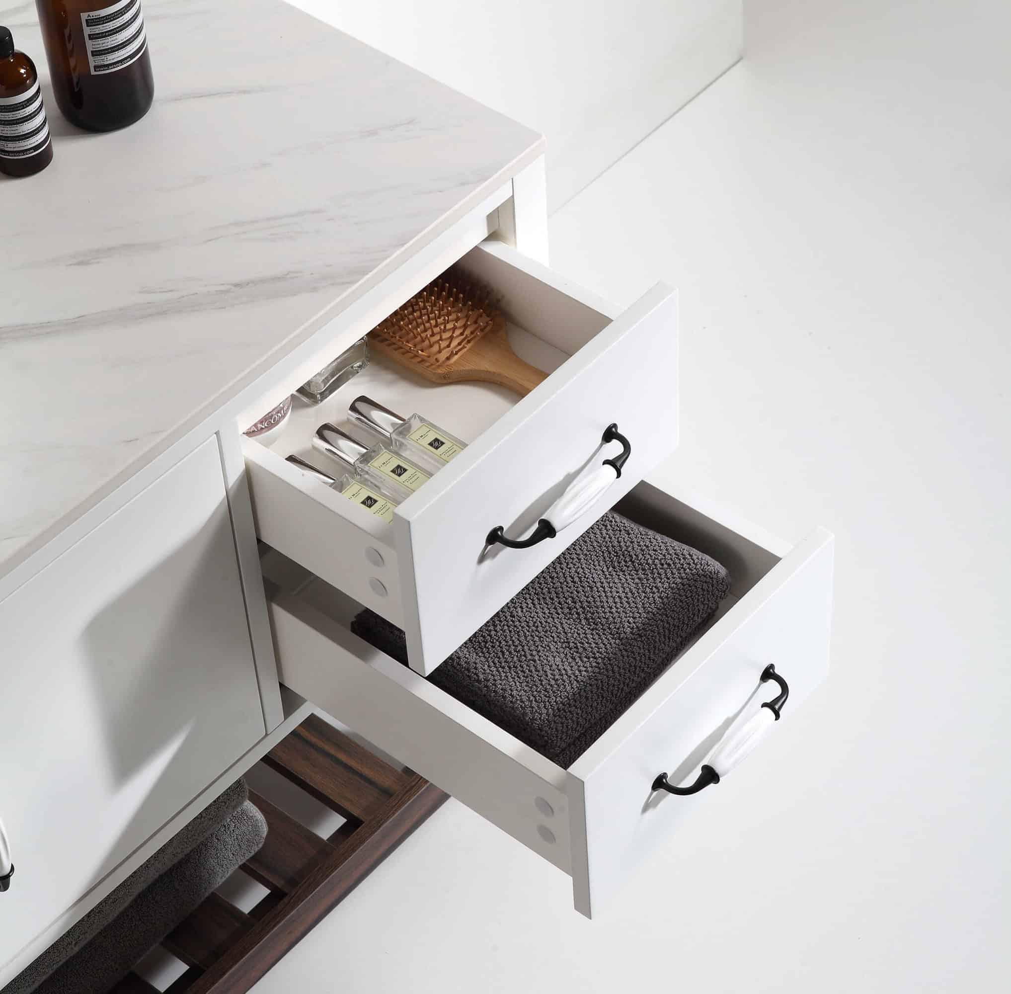ארון אמבטיה דגם ונילה פתיחת מגירות