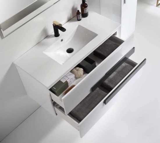 פתיחה וסידור מגירות בארון אמבטיה 2 מגירות
