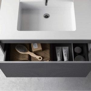 ארון אמבטיה מודרני מדגם ליין פתיחה מגירה