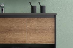 ארון אמבטיה שחור דגם סער עץ
