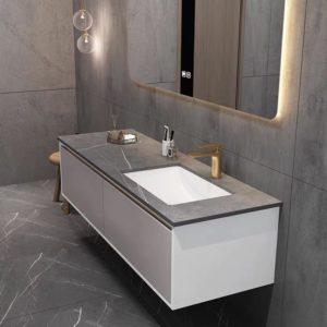 ארון אמבטיה לבן עם שיש אפור