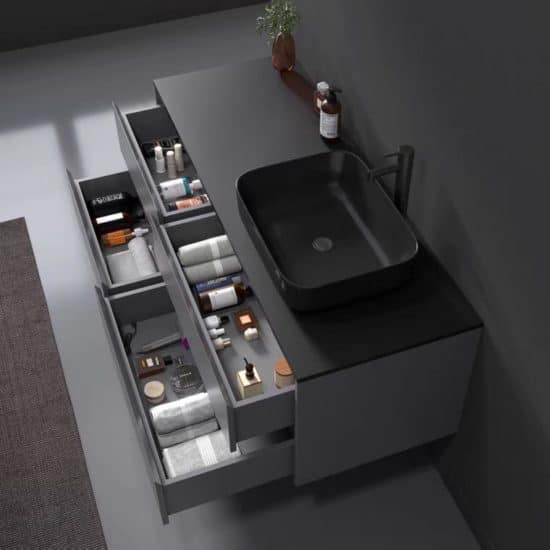 ארון אמבטיה שיש שחור דגם ויקטור פתיחה