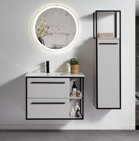 ארון אמבטיה דגם רביד עם ארון שירות