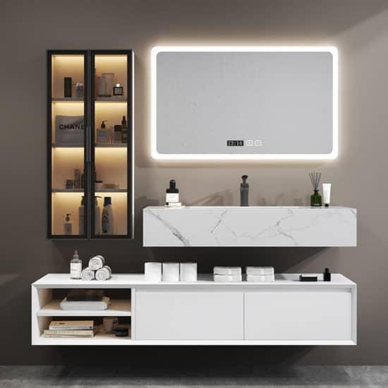 ארון אמבטיה כיור לבן